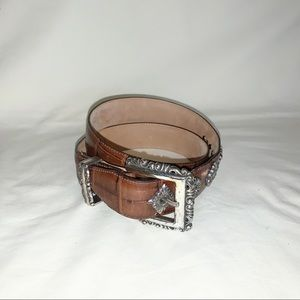 Vintage 1996 Brighton Embossed Leather Belt Sz M